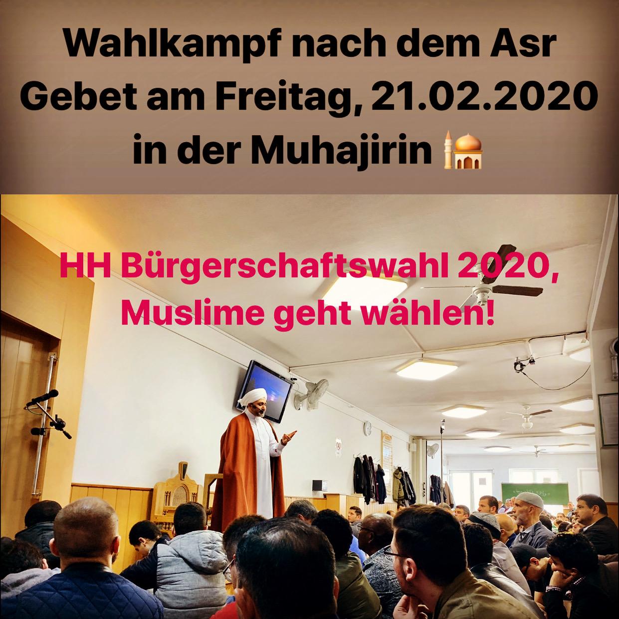 Bürgerschaftswahlkampf in der Muhajirin Moschee